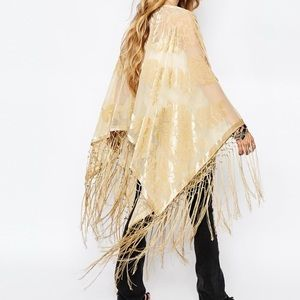 Ralph Lauren Velvet and Fringe Poncho